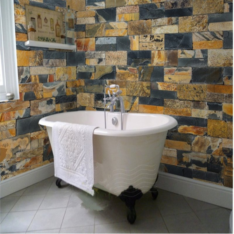 Stone Brick 3D Waterproof Bathroom Wall Mural by BeddingInn