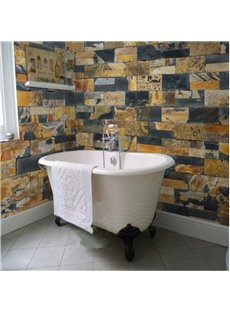 Fancy Vivid Stone Brick Pattern Waterproof 3D Bathroom Wall Murals