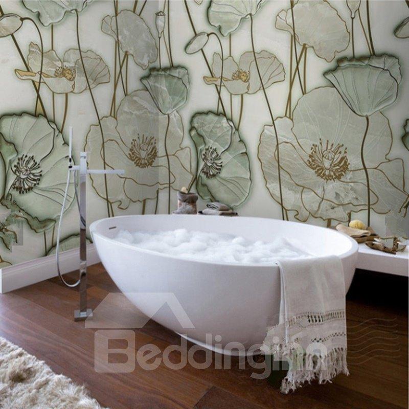 Classic Simple Style Lotus Leaves Pattern Waterproof 3D Bathroom Wall Murals