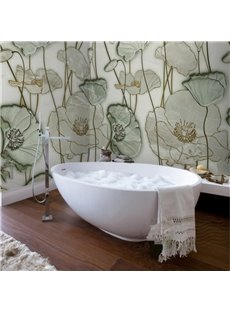 Classic Simple Style Lotus Leaves Pattern Waterproof 3D Bathroom Wall Murals