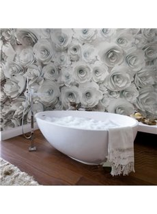 White Romantic Roses Pattern Design Decorative Waterproof 3D Bathroom Wall Murals