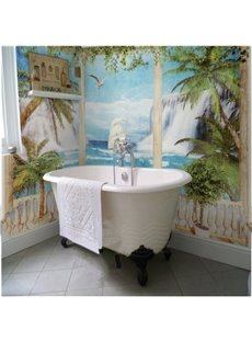 Coconut palms and Seaside Scenery Modern Style Waterproof 3D Bathroom Wall Murals