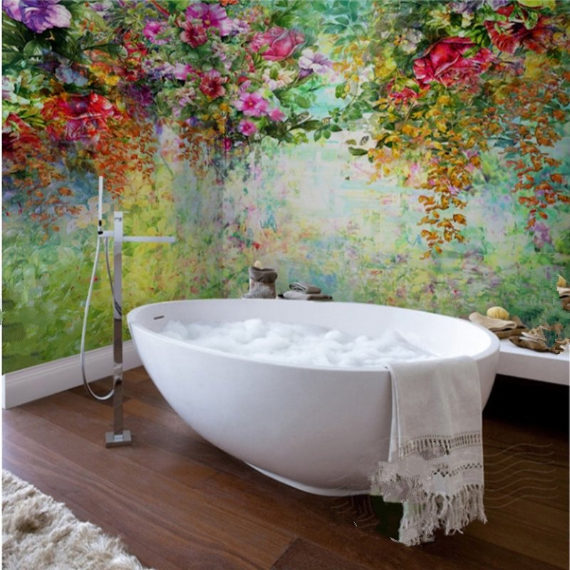 56 Gorgeous Flowers And Trees Pattern Waterproof Bathroom Wall Murals