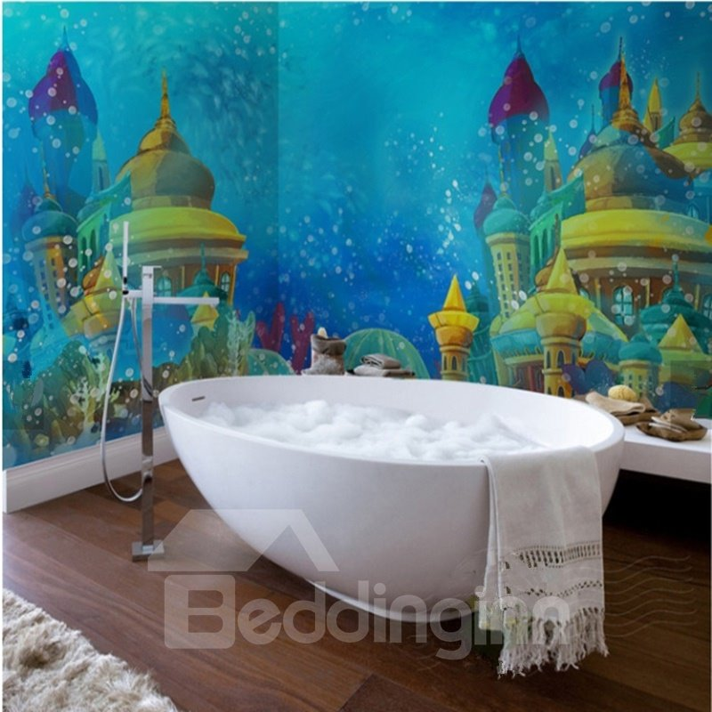 Cute Cartoon Magic Castle Pattern Decorative Waterproof 3D Bathroom Wall Murals