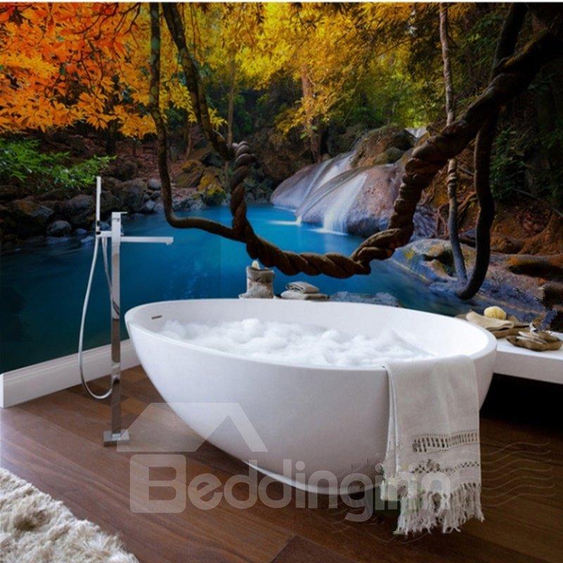 Leisurely Intermountain Stream Scenery Waterproof 3D Bathroom Wall Murals
