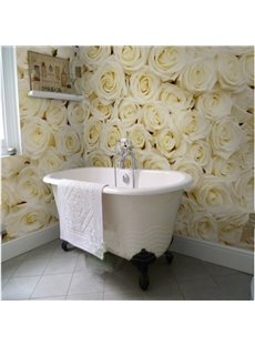 Romantic Champagne Roses Pattern Design Waterproof 3D Bathroom Wall Murals