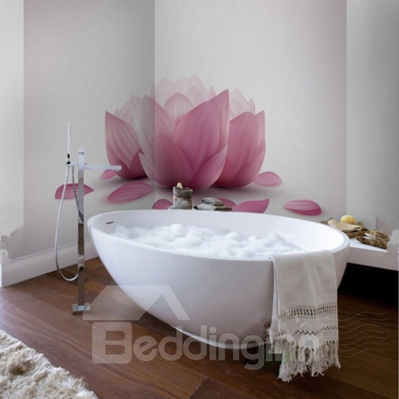 Elegant Simple Style Pink Flower Pattern Waterproof 3D Bathroom Wall Murals