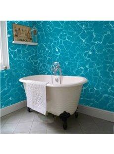 Blue Glistening Seawater Pattern Decorative Waterproof 3D Bathroom Wall Murals
