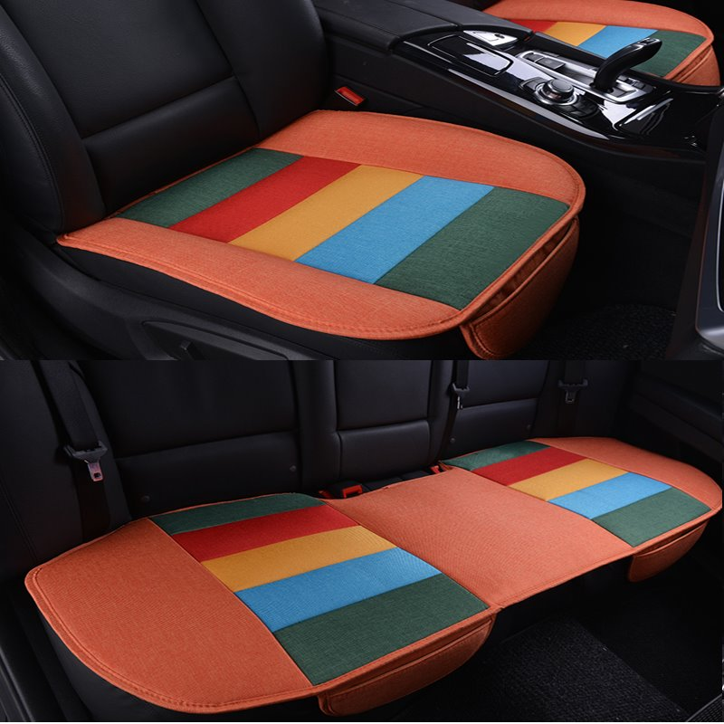 Rainbow Main Yellow Colors Design Durable PET Material 3-Pieces Universal Car Seat Mat
