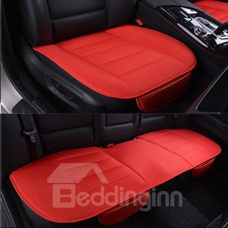 Beautiful Red Color Durable PET Material 3-Pieces Universal Car Seat Mat