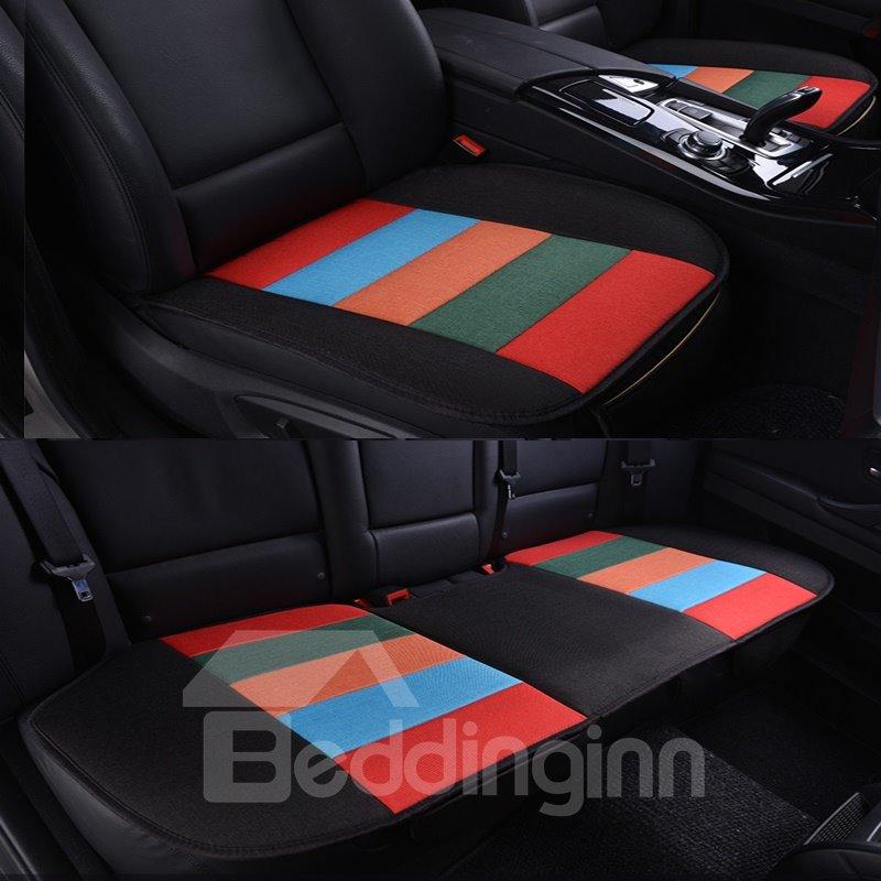 Cool Rainbow Black Colors Design Durable PET Material 3-Pieces Universal Car Seat Mat