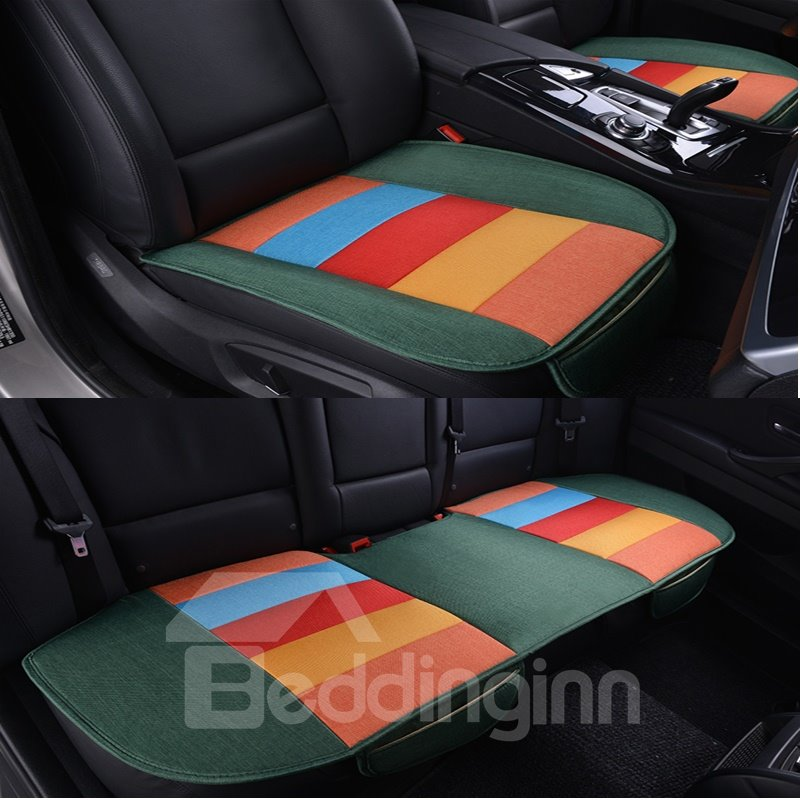 Cool Rainbow Colors Design Durable PET Material 3-Pieces Universal Car Seat Mat