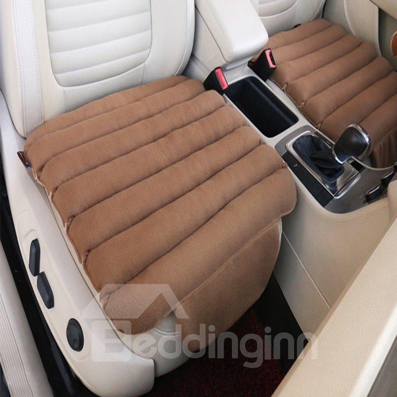Special 3D Design Velvet Surface Material And High-Grade Cotton Filler 1-Piece Brown Front Car Seat Mat