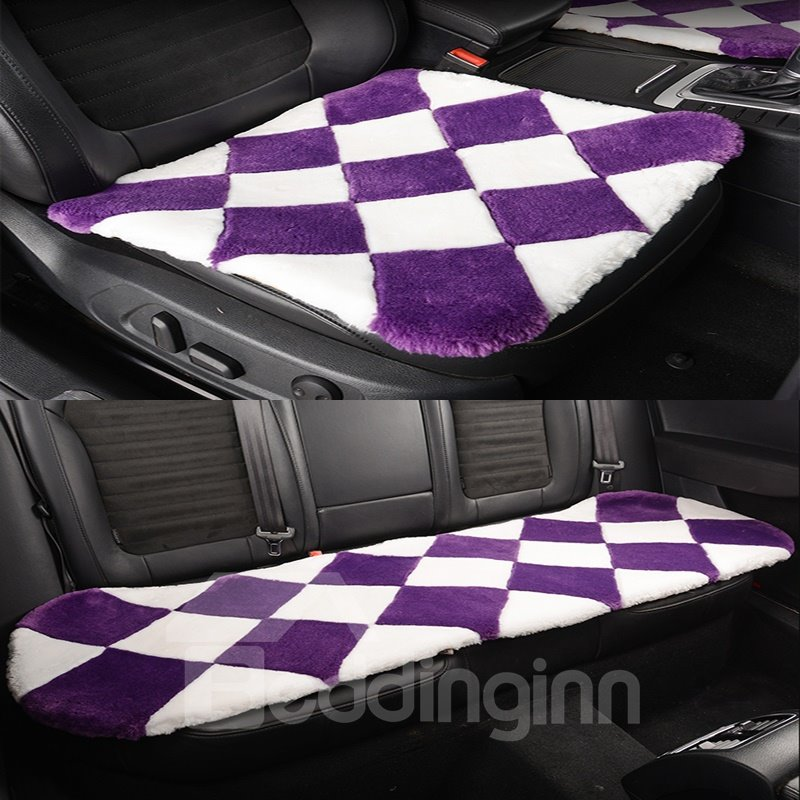 Fantastic White And Purple Lattice Style Design Short Plush Material Soft Universal Car Seat Mat