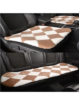 Attractive Khaki White Lattice Style Design Short Plush Material Soft Universal Car Seat Mat