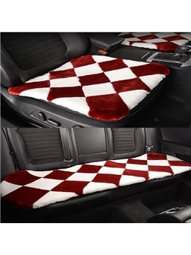 Charming Black And Red Lattice Style Design Short Plush Material Soft Universal Car Seat Mat