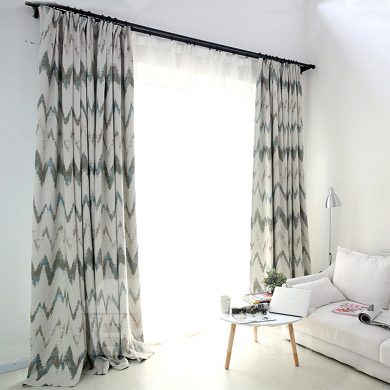 Geometric Pattern Cotton and Linen Blackout Custom Curtain