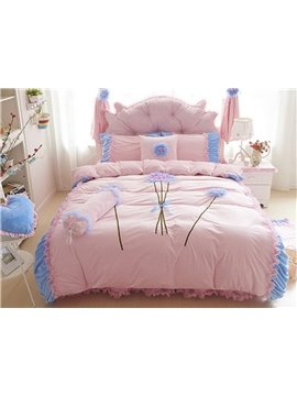 Wonderful Flowers Pattern Lace Style 4-Piece Duvet Cover Sets
