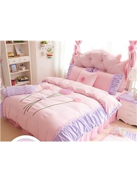 Pretty Flower Pattern Lace Style 4-Piece Duvet Cover Sets