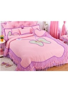 Amazing Lace Butterfly Pattern Design Pink 4-Piece Princess Duvet Cover Sets