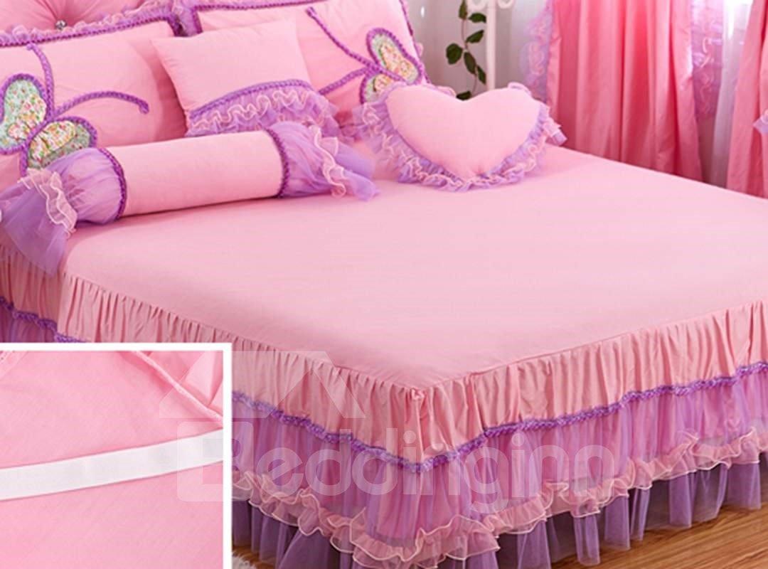 Amazing Lace Butterfly Pattern Design Pink 4-Piece Princess Duvet Cover Sets