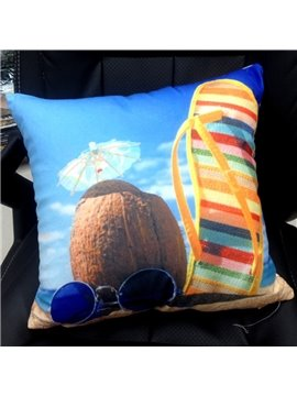 Attractive Beach Landscape Print Polyester Throw Pillow