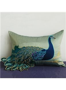Noble Peacock Embroidery PP Cotton Throw Pillow