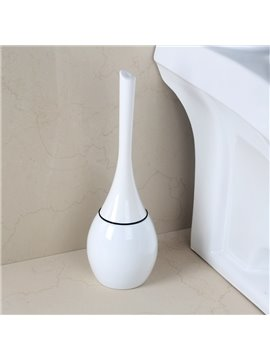 Cute Design White Toilet Brush Holder Set