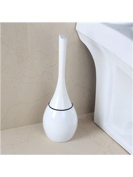 Cute Design White Toilet Brush Holder Set