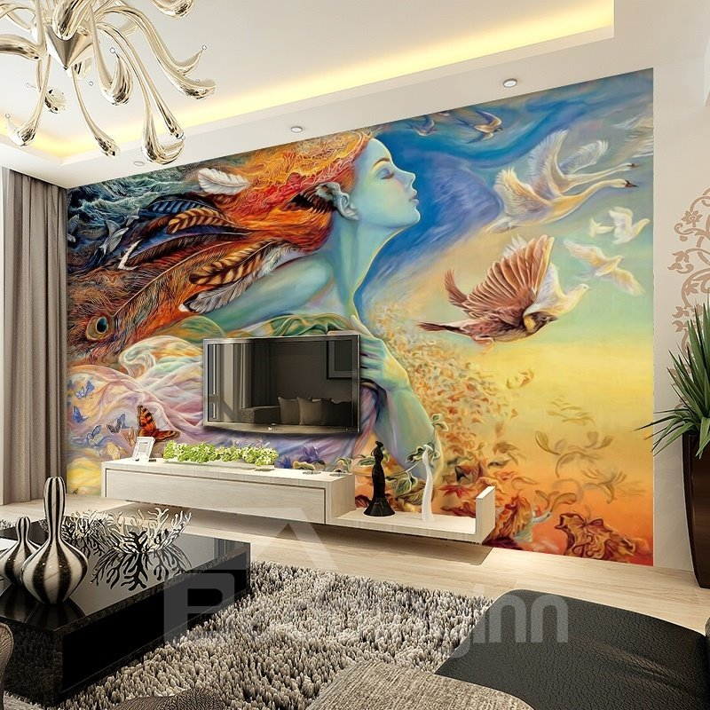 charming and gorgeous girl with colorful feather hair design 3d wall