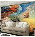 Charming and Gorgeous Girl with Colorful Feather Hair Design 3D Wall Murals