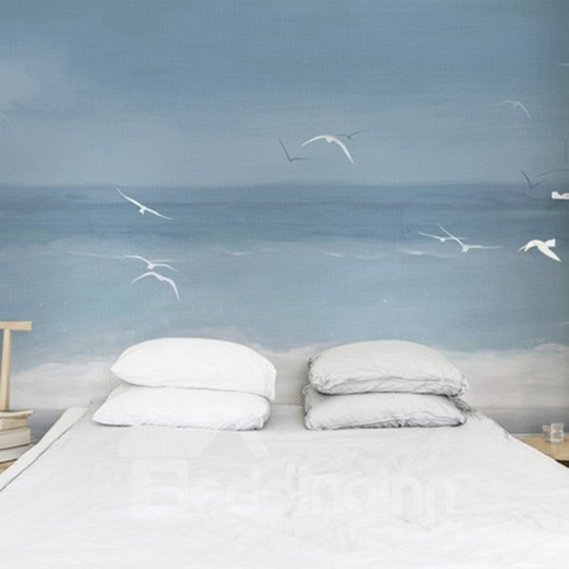 Leisurely Blue Sea and Sea Gulls Pattern Design Decorative 3D Wall Murals