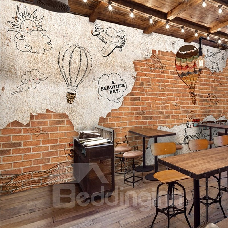 A Beautiful Day Hot-air Balloon and Red Brick Pattern Decorative 3D Wall Murals