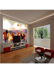 Super Cool Running Horses Pattern Design Waterproof 3D Wall Murals