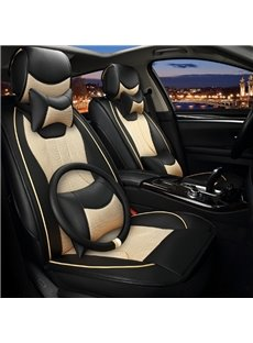 Luxury Beige Black Contrast Color Mixing Durable PU With Ice Silk Material Universal Car Seat Cover