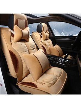 Super Soft Velvet Material Classic Beige Style Universal Car Seat Cover