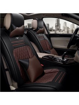 Classic Business Style Contrast Color Mixing Durable PU Leather Material Universal Car Seat Cover