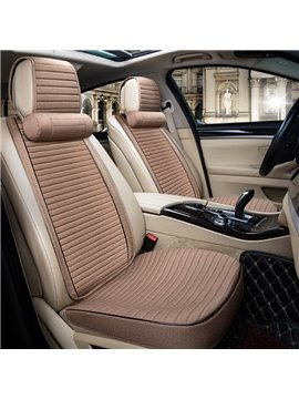 Textured Fashion Beige Design With Good Permeability Flax Material Universal Car Seat Cover
