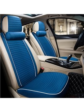 Textured Fashion Blue Design With Good Permeability Flax Material Universal Car Seat Cover