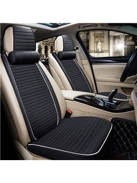 Simple Classic Black Design With Good Permeability Flax Material Universal Car Seat Cover