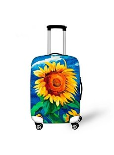 Oil Painting Style Sunflower Pattern 3D Painted Luggage Cover