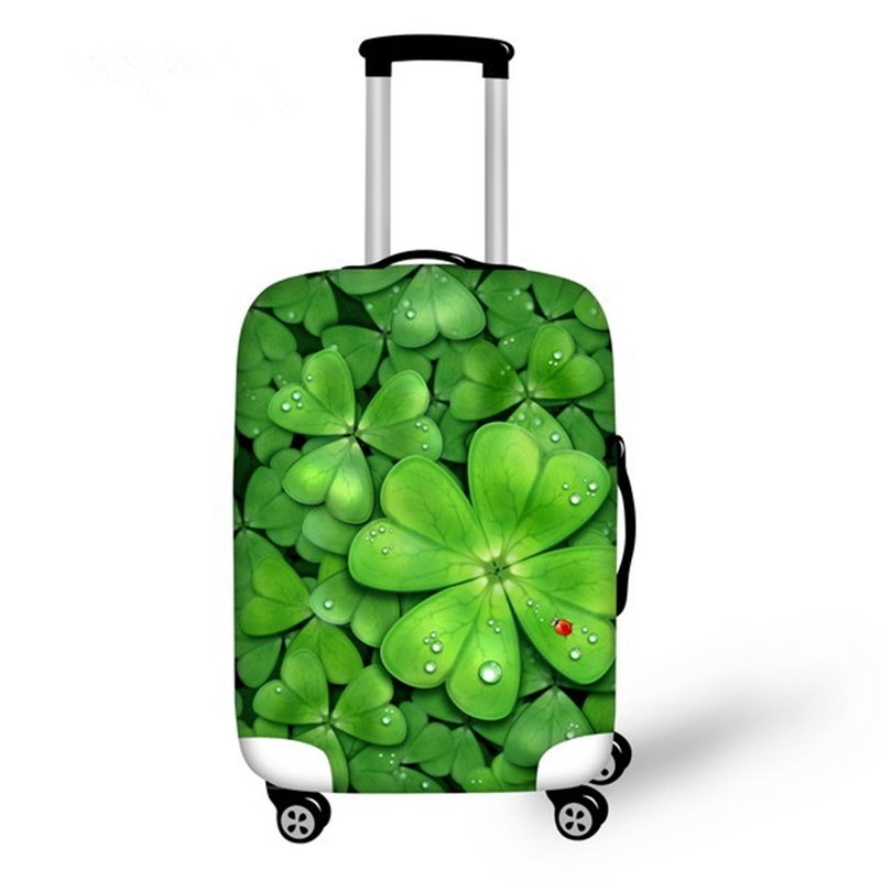 Four Leaf Clover Pattern 3D Painted Luggage Cover