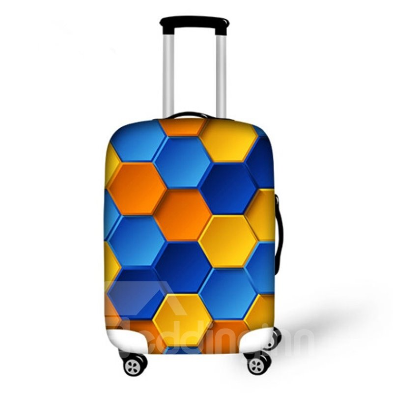 Lovely Hex-angular Grid Pattern 3D Painted Luggage Cover