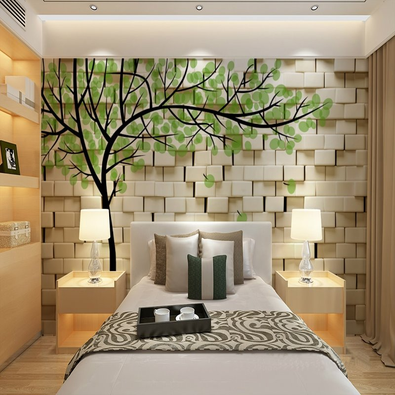 3d Wall Murals : Fresh white wall with green tree pattern waterproof d