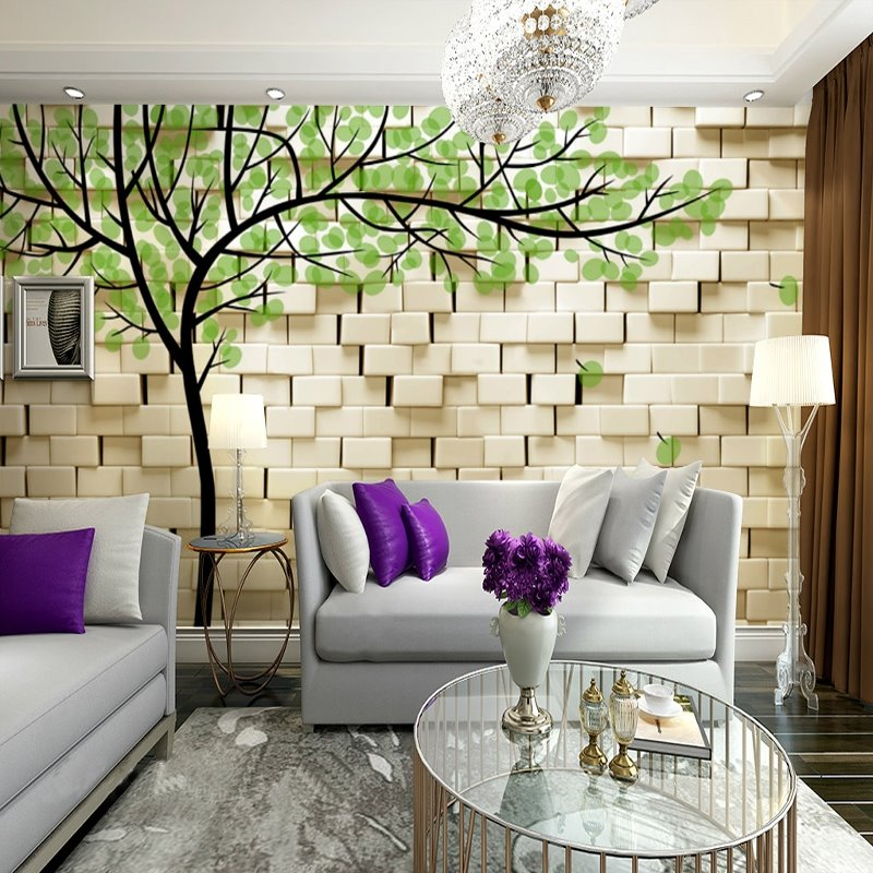 Fresh White Wall with Green Tree Pattern Waterproof 3D Wall Murals