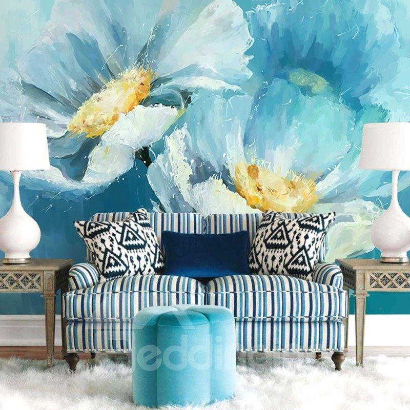 Blue Elegant Style Flowers Pattern Waterproof Splicing 3D Wall Murals