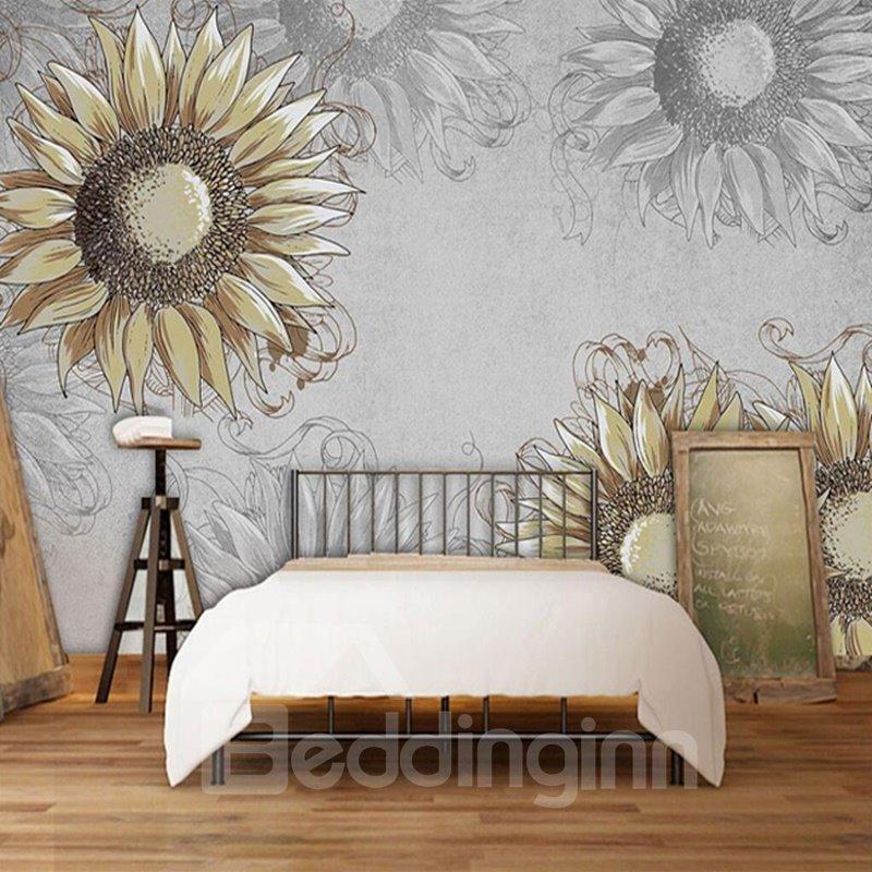 Decorative Simple Style Sunflowers Pattern Waterproof 3D Wall Murals