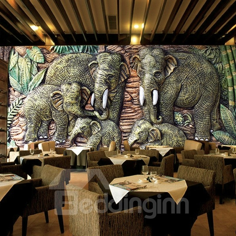Delicate Elephants Pattern Home Decorative Waterproof 3D Wall Murals