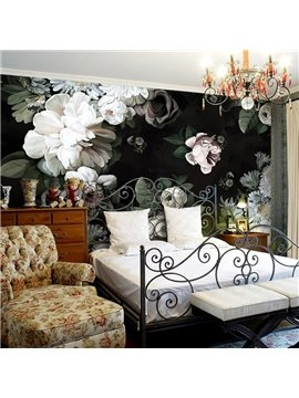 Elegant White Beautiful Flowers Pattern Waterproof 3D Wall Murals
