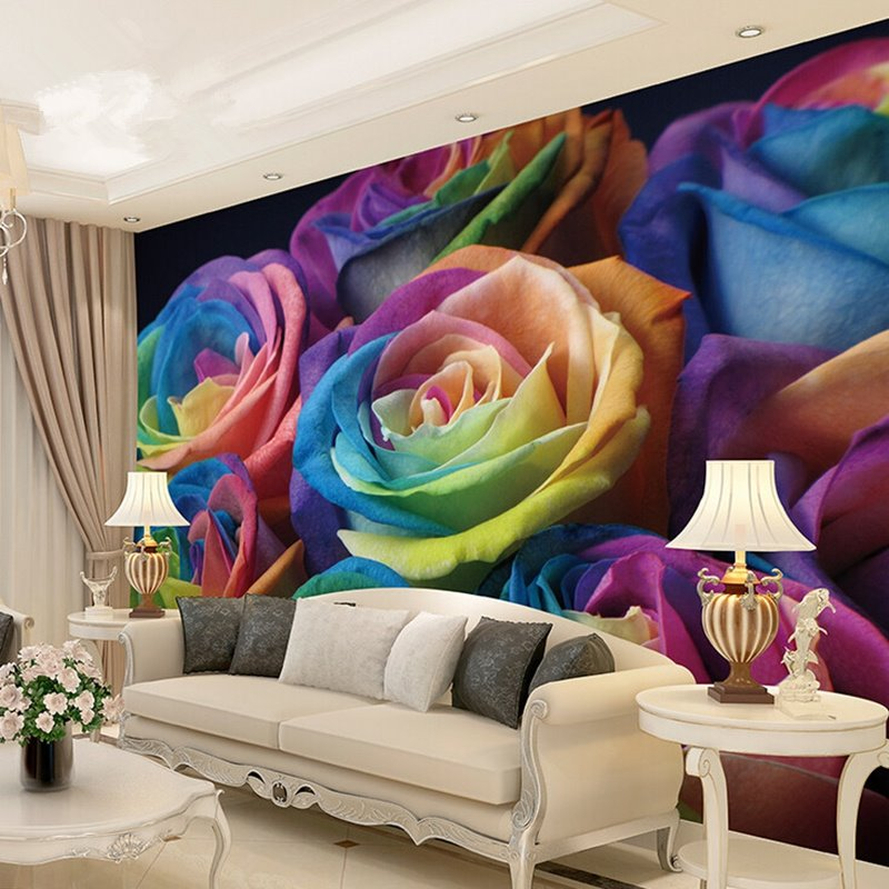 romantic colorful roses pattern waterproof splicing 3d wall murals